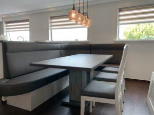 Scheepsstoffering maatwerk keukenbank en stoelen